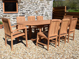 8 Seater Oval Extending Teak Set with Dining Chairs & Stacking Armchairs