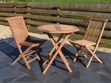 70cm octagonal folding teak garden table and 2 classic folding chairs