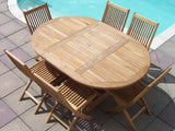 6 Seater Round Extending Teak Set with Folding Chairs
