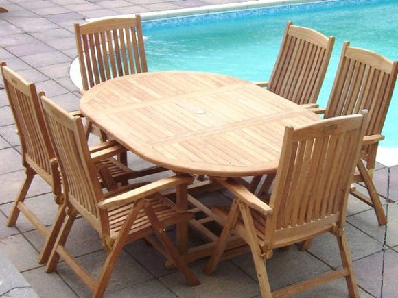 6 Seater Round Extending Teak Set with Recliners