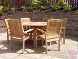 6 Seater Round 'Radar' Teak Set with Henley Stacking Armchairs