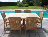 6 Seater Square Extending Teak Set with Henley Stacking Armchairs