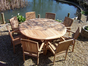 8 Seater Round Pedestal Teak Set with Henley Stacking Armchairs