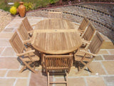 8 Seater Oval Pedestal Teak Set with Folding Armchairs