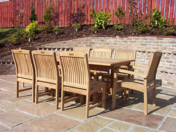 8 Seater Rectangular Pedestal Teak Set with Dining Chairs & Stacking Armchairs