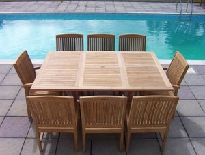 8 Seater Square Extending Teak Set with Dining Chairs & Stacking Armchairs