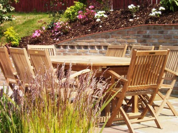 10 Seater Oval Double Extending Teak Set with Folding Armchairs