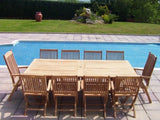 14 Seater Rectangular Double Extending Teak Set with Folding Chairs & Recliners