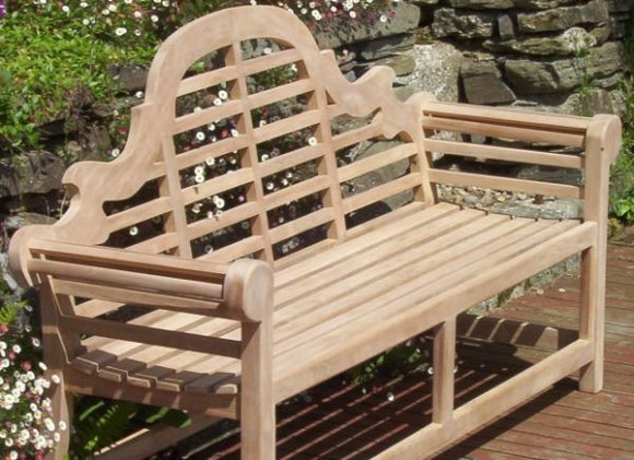 Lutyens 2 Seater Teak Garden Bench - 4ft/120cm