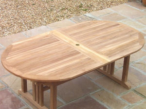 Teak 190x100cm Oval Pedestal Table