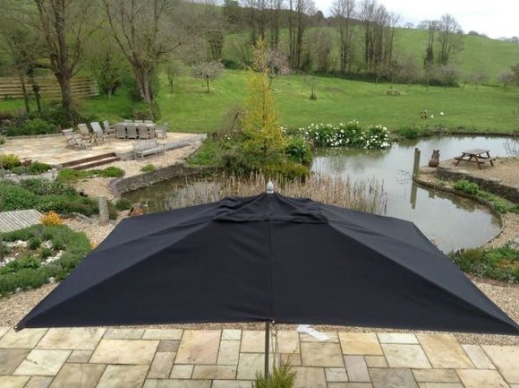 4x3m Rectangular Aluminium Commercial Parasol Black