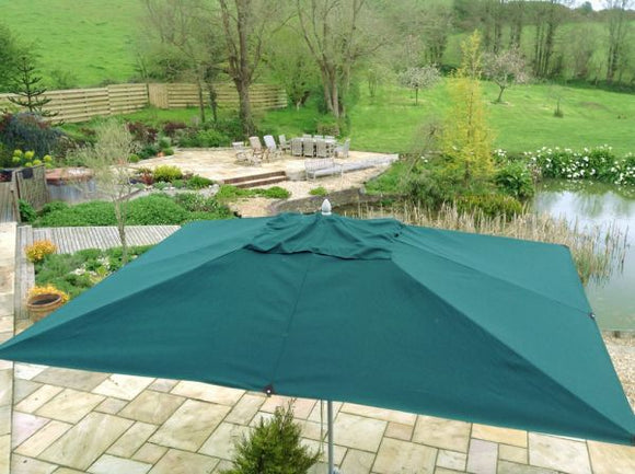 4x3m Rectangular Aluminium Commercial Parasol Green