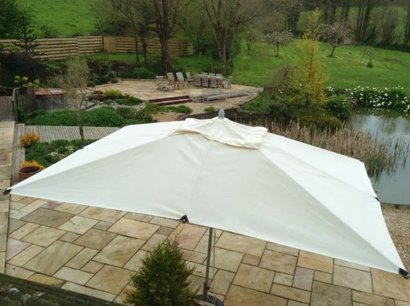 4x3m Rectangular Aluminium Commercial Parasol Natural