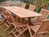 8 Seater Rectangular Extending Teak Set with Folding Chairs