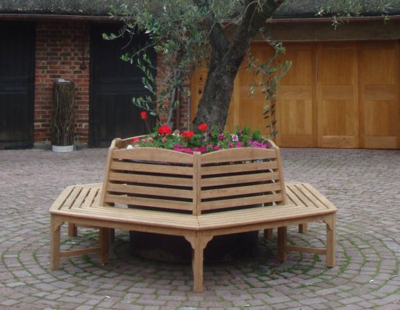 SALE - Teak Tree Seat (250cm) - Hexagonal