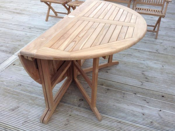 Teak 140cm Round Gate-leg Folding Table