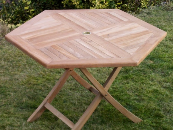 Teak 120cm Hexagonal Folding Table