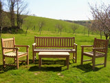 5 Seater Rectangular Coffee Table Teak Set with Classic Garden Bench & Armchairs