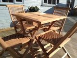 4 Seater Square Folding Teak Set with Folding Chairs