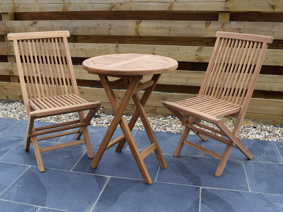 2 Seater Round Folding Teak Set with Classic Folding Chairs
