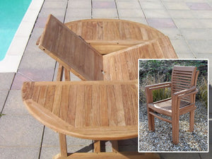 6 Seater Round Extending Teak Set with Newbury Stacking Armchairs