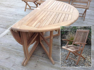 6 Seater Large Round Folding Gate-Leg Teak Set with Folding Armchairs