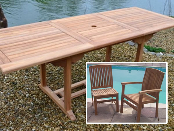 8 Seater Rectangular Extending Teak Set with Dining Chairs & Stacking Armchairs