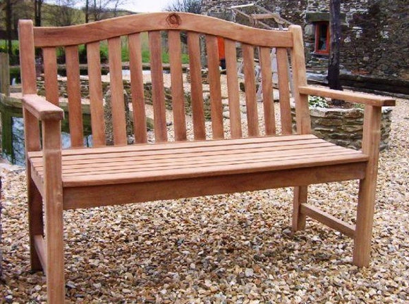 Rose 2 Seater Teak Garden Bench - 4ft/120cm