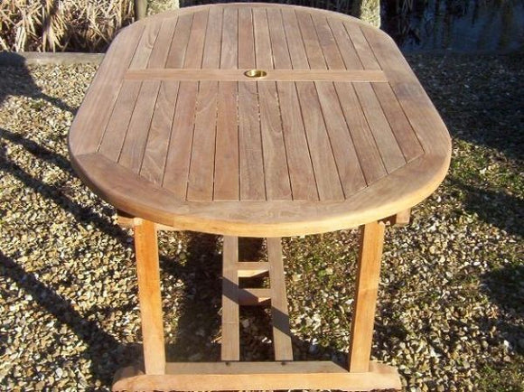 Teak 160x90cm Oval Pedestal Table