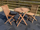 small octagonal teak garden table and 2 classic folding chairs set