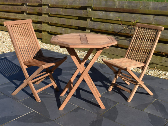 2 seater teak 70cm octagonal folding table and chairs set