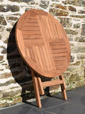 round 80cm teak folding garden table front detail