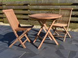 small round folding teak garden table and chairs set