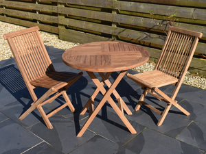 80cm round teak folding table and classic folding chairs set