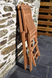 pair of teak classic folding garden chairs - folded detail