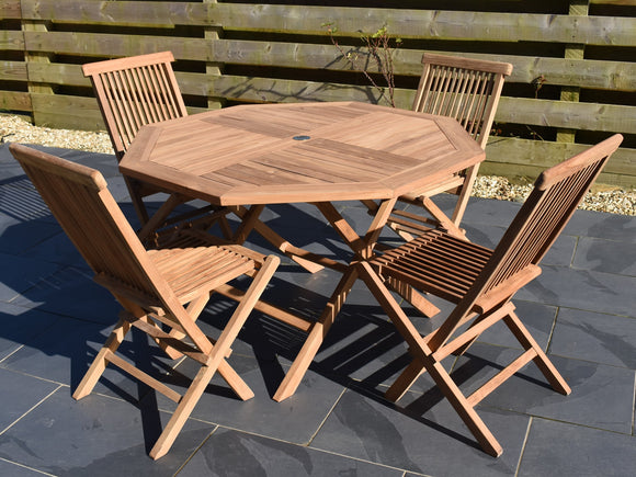 4 seater teak octagonal folding garden set with 4 classic folding chairs