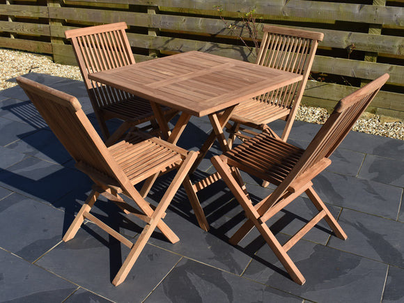 2 seater 80cm square folding teak garden set with classic folding chairs