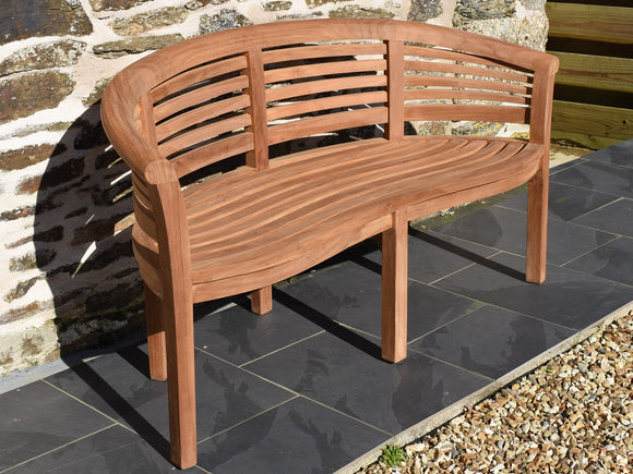 teak garden banana bench with wave design