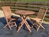 2 seater round teak folding table and chairs set