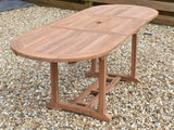 8 Seater Oval Extending Teak Set with Folding Chairs