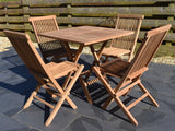 80cm square teak folding garden dining set with four classic folding chairs