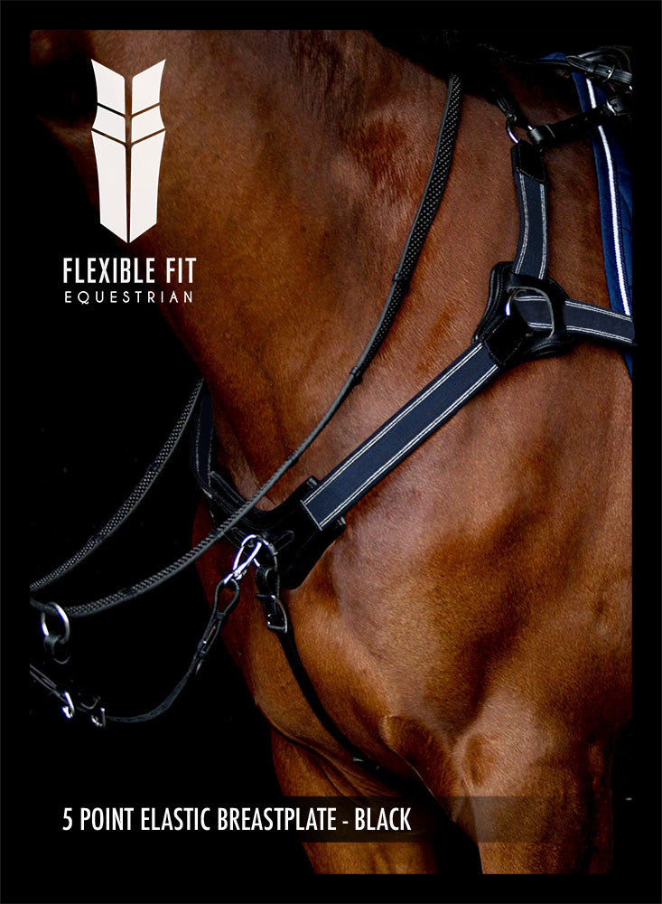 5 POINT ELASTIC BREASTPLATE - BLACK