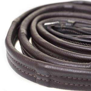 PADDED LEATHER 6/8 BILLETS HAVANA REINS - Flexible Fit Equestrian Australia