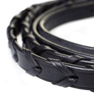 PLAITED LEATHER BLACK REINS