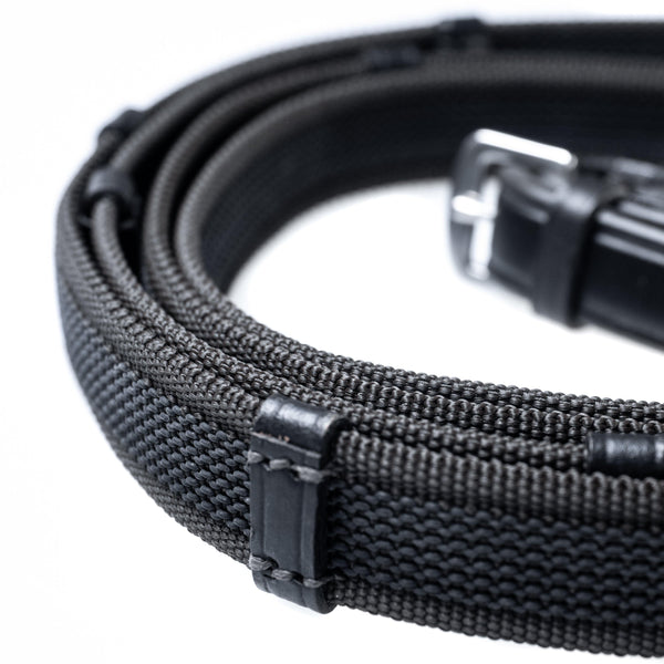 SURE GRIP BLACK REINS WITH CONTINENTAL STOPPERS - Flexible Fit Equestrian Australia