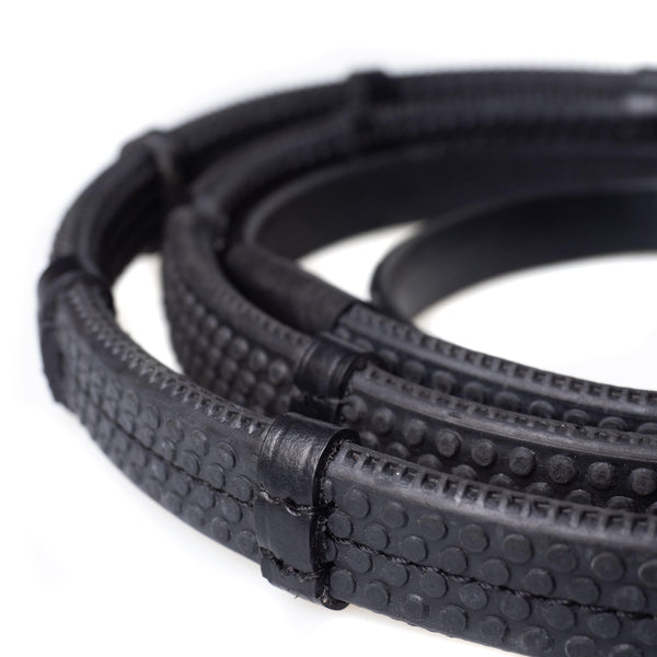 RUBBER GRIP BLACK REINS - Flexible Fit Equestrian Australia