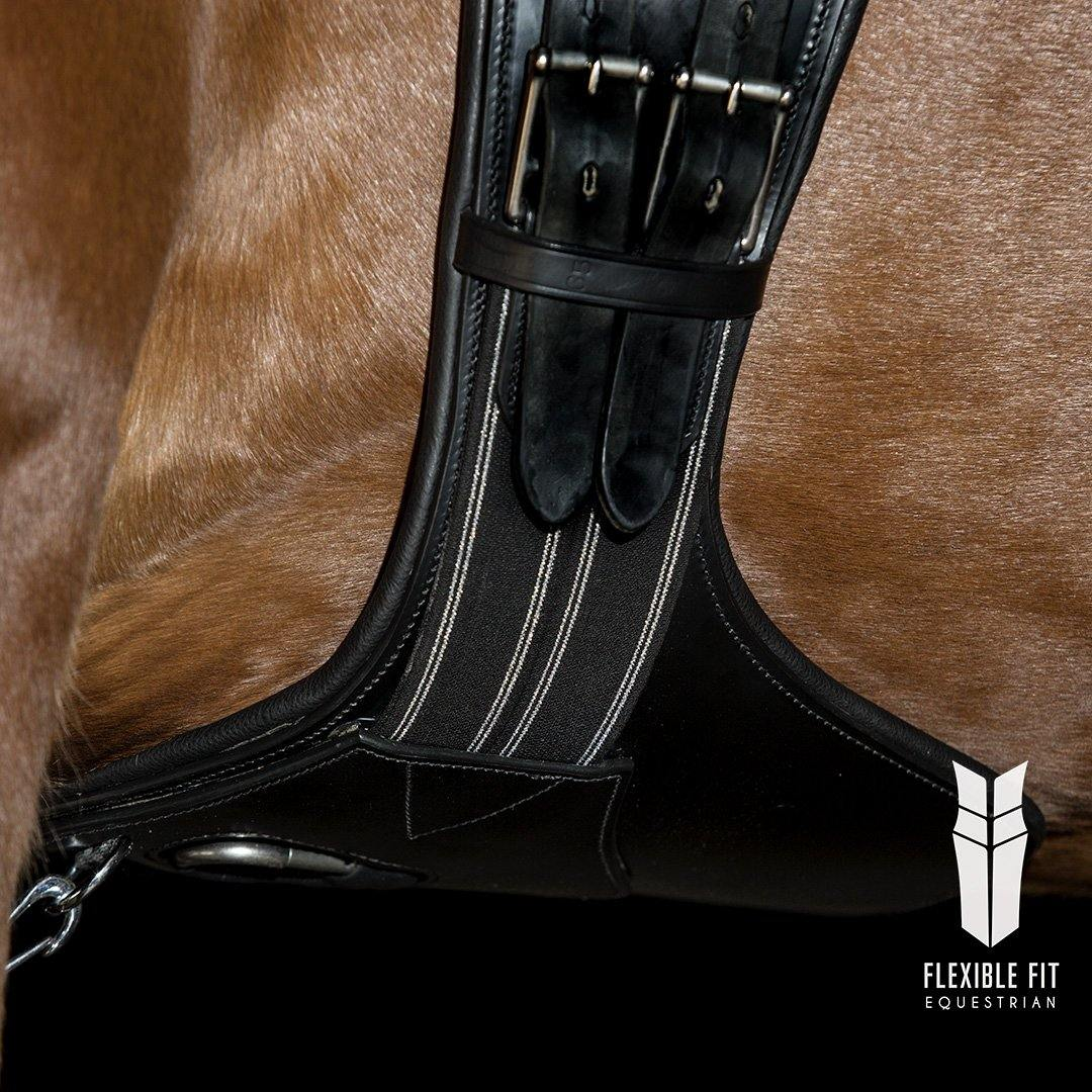 ANATOMICAL BLACK SHORT STUD GIRTH - BLACK AND SILVER ELASTIC - Flexible Fit Equestrian Australia