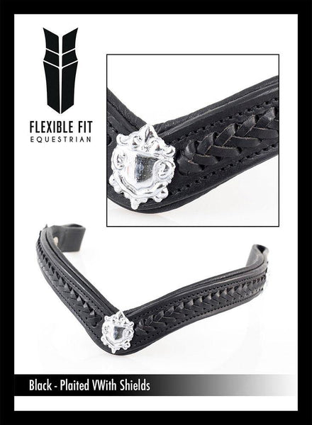 PLAITED WITH SHIELDS V SHAPE - BLACK BROWBAND - Flexible Fit Equestrian Australia