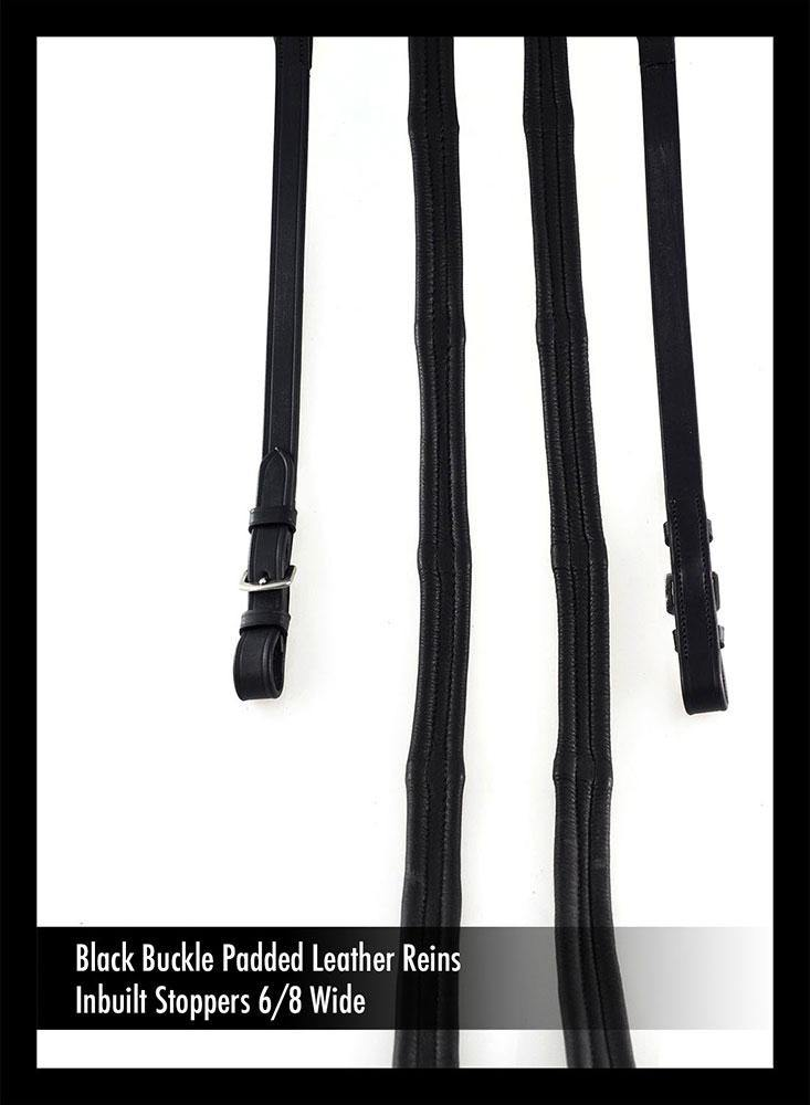 PADDED LEATHER 6/8 BUCKLE BLACK REINS