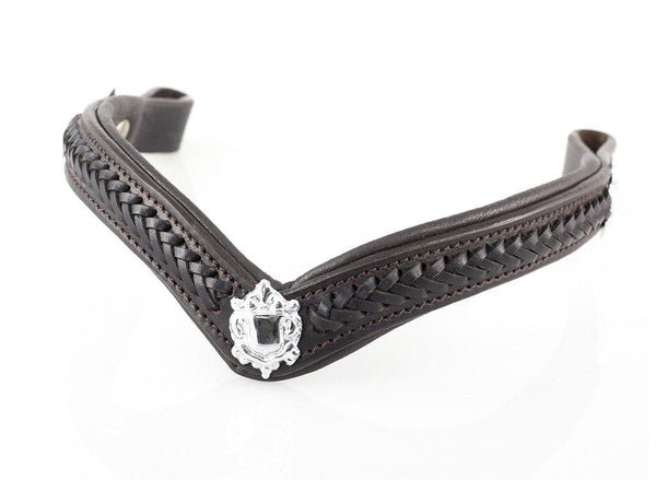 PLAITED WITH SHIELDS V SHAPE - HAVANA BROWBAND